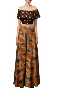 Brown raw silk off-shoulder top & palazzos