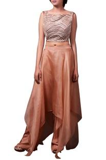 Brown crop top with organza asymmetric skirt