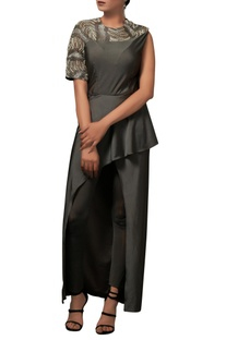 Charcoal grey bodycon dress with pants