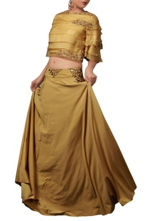 Ochre yellow organza top & skirt