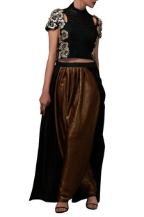 Black sequin crop top & pant with attached skirt