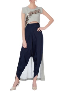 Grey synthetic & silk embroidered cape with blue dhoti pants