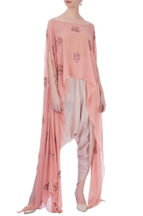 Peoder pink & onion pink georgette & silk embroidered cape with dhoti pants