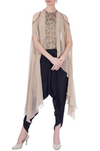Beige & black georgette & silk embellished cape with dhoti pants
