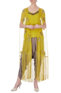Yellow & grey georgette & silk embroidered dhoti pants with jacket