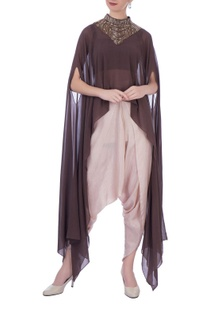 Brown georgette & silk embellished cape with dhoti pants