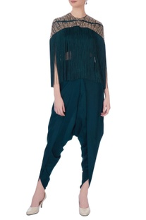 Teal silk solid dhoti pants & bustier with embroidered jacket
