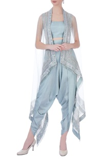 Mint green net & silk embroidered jacket with dhoti pants & bustier