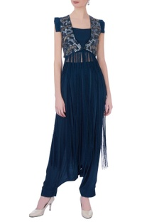 Teal blue georgette solid cowl pants & bustier with embroidered cape