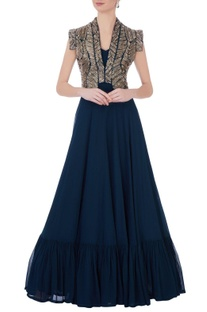 Teal blue georgette & silk embroidered cape with solid maxi dress