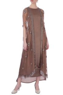 Brown organza & silk organza embellished cape & cowled dress