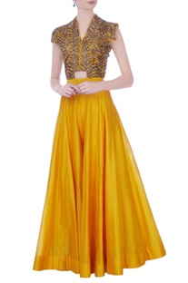 Yellow silk embroidered jacket with sharara & bustier