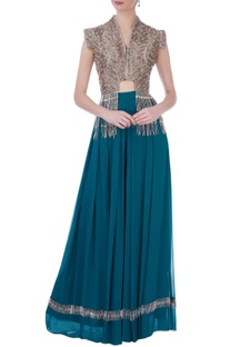 Teal blue georgette & silk embroidered cape with bustier & long skirt