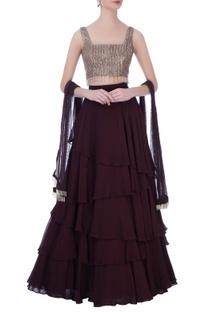 Wine georgette embroidered blouse with layered skirt & dupatta