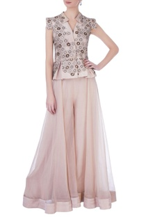 Onion pink organza & silk embellished blouse with sharara