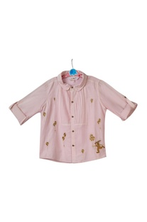 Pink cotton silk pintuck shirt
