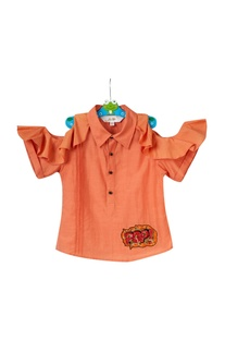Orange ruffle cold shoulder shirt