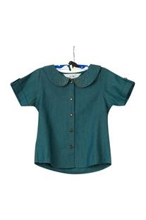 Green embellished shirt & shorts