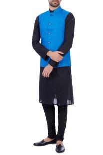 Blue linen front pocket nehru jacket