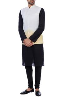 White and orange linen ombre nehru jacket