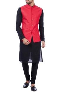 Red linen front pocket nehru jacket