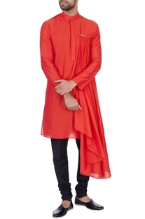 Red cotton silk draped kurta