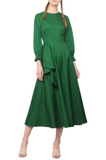 Forest green midi dress
