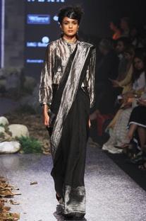 Black linen zari sari