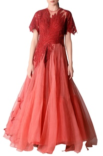 Red organza flared gown