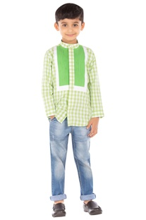 Green check print shirt
