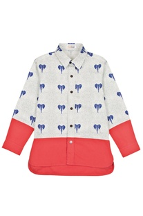 White & red elephant motif shirt