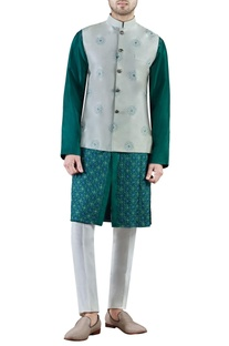 Mint green embroidered dupion silk kurta set