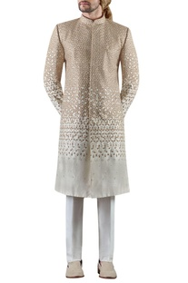 Off white embroidered raw silk sherwani set
