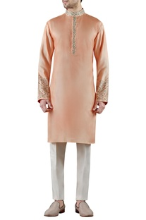 Peach embroidered silk kurta