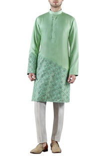 Mint green embroidered silk kurta