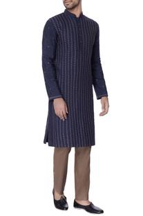 Navy blue resham worn silk kurta