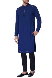 Navy blue embroidered georgette kurta