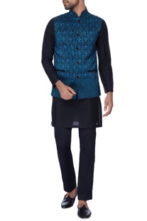 Black digital print waist coat & silk kurta set