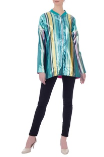 Multicolored metallic lurex zipper jacket