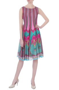 Pink chanderi printed short dress
