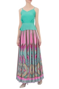 Multicolored ming crepe silk kaleidoscopic skirt