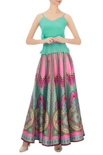 Pink kaleidoscopic dupion silk skirt