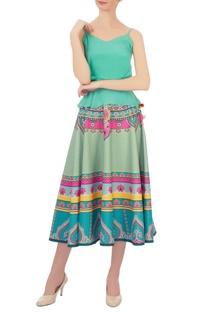 Blue & pink kaleidoscopic taffeta silk circular skirt