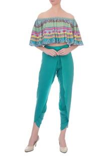 Multicolored kaleidoscopic off-shoulder crop top