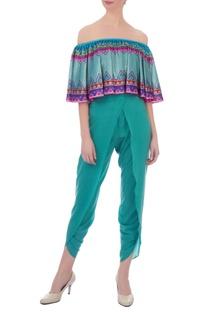 Multicolored kaleidoscopic off-shoulder velvet crop top