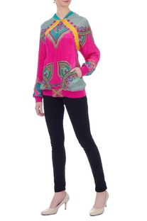 Pink kaleidoscopic bomber jacket