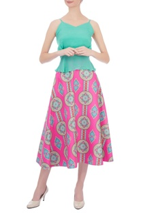 Pink & blue kaleidoscopic printed circular skirt