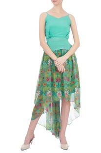 Green floral printed high low chiffon skirt
