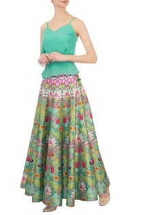 Pink & green dupion silk paneled maxi skirt