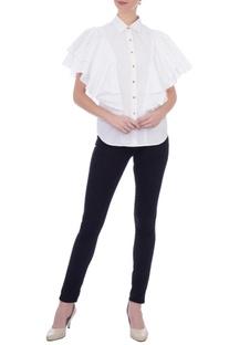 White cotton frilly shirt